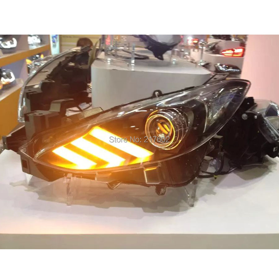 Car-styling led lamps for Mazda 3 AXELA LED Headlights auto car lamps 2014-up LED moving turn signal ight LD car styling abs material roof spoiler without paint for mazda axela 2013 2014 2015 high quality auto decoration accessories