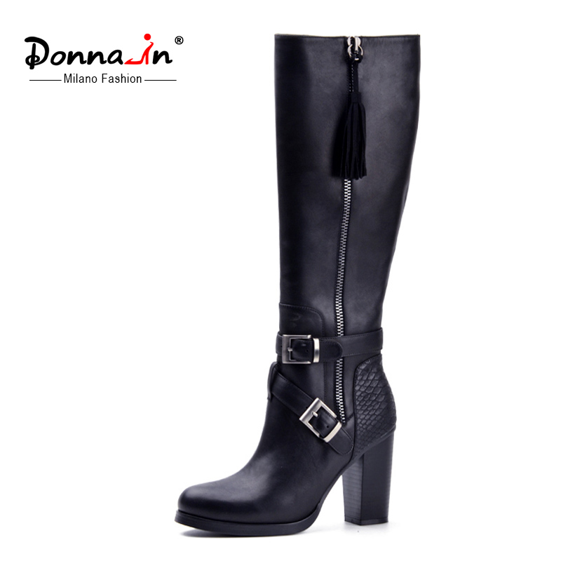 Donna-in 2017 new style winter boots fringe high boots real leather woman shoes high and thick heel calf leather ladies boots dreambox 2017 autumn and winter trends in europe and america woven leather breathable shoes in thick soled sports shoes men