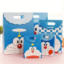 цена на 30pcs/lot New Kids Birthday Gift Wrapping Paper Tote Bag Cartoon Robot Cat Pattern Children's Day Gift Paper Bag