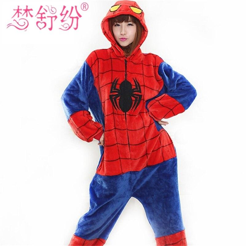 Человек-паук фланель животных одежды милые пижамы для взрослых унисекс onsies пижамы ...