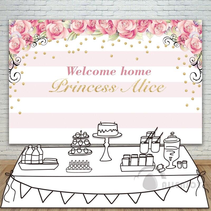 Filles anniversaire décors bébé douche fond Rose rayure Rose or cercle Invitation fête Allenjoy personnaliser