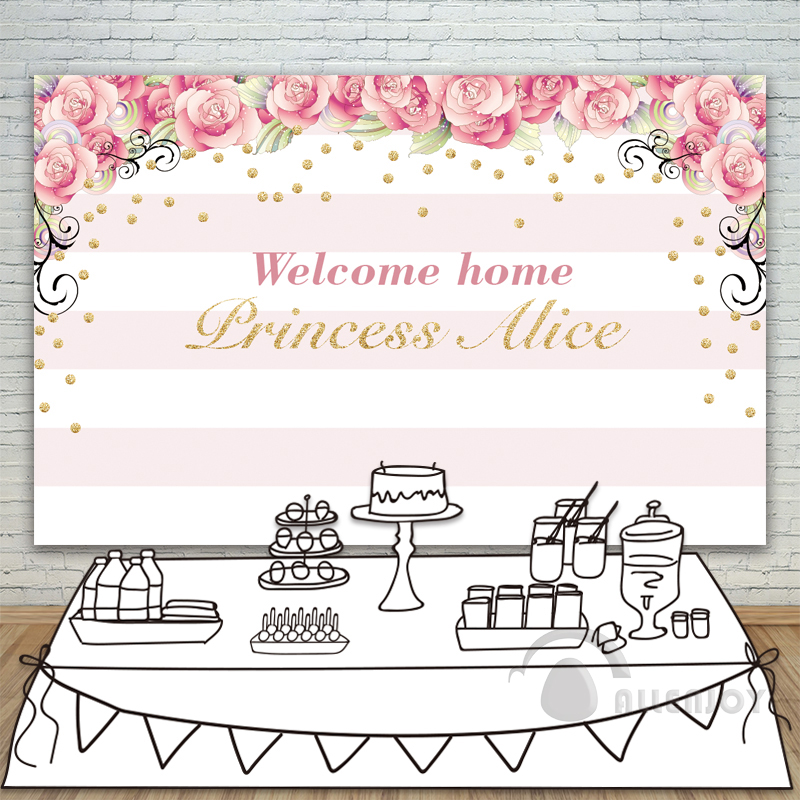 Girls Birthday backdrops Baby Shower Background Pink Stripe Rose Gold Circle Invitation celebration Party Allenjoy customize