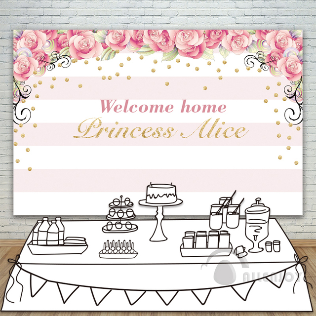 High Quality Girls Birthday Backdrops Baby Shower Background Pink Stripe Rose Gold  Circle Invitation Celebration Party Allenjoy Customize