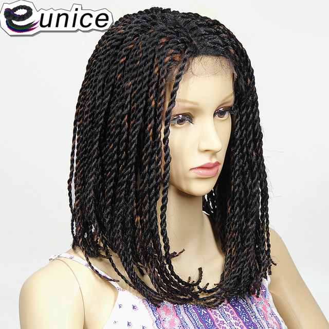 Us 37 05 21 Off Eunice Natural Black Purple 2x Twist Braids Bob Synthetic Lace Front Wigs With Baby Hair 16 Inch Heat Resistant Crochet Hair Wig In