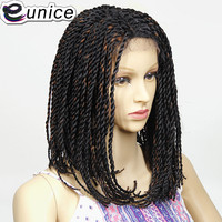 Eunice Natural Black/purple 2X Twist Braids Bob Synthetic Lace Front Wigs with Baby Hair 16INCH Heat Resistant Crochet Hair Wig