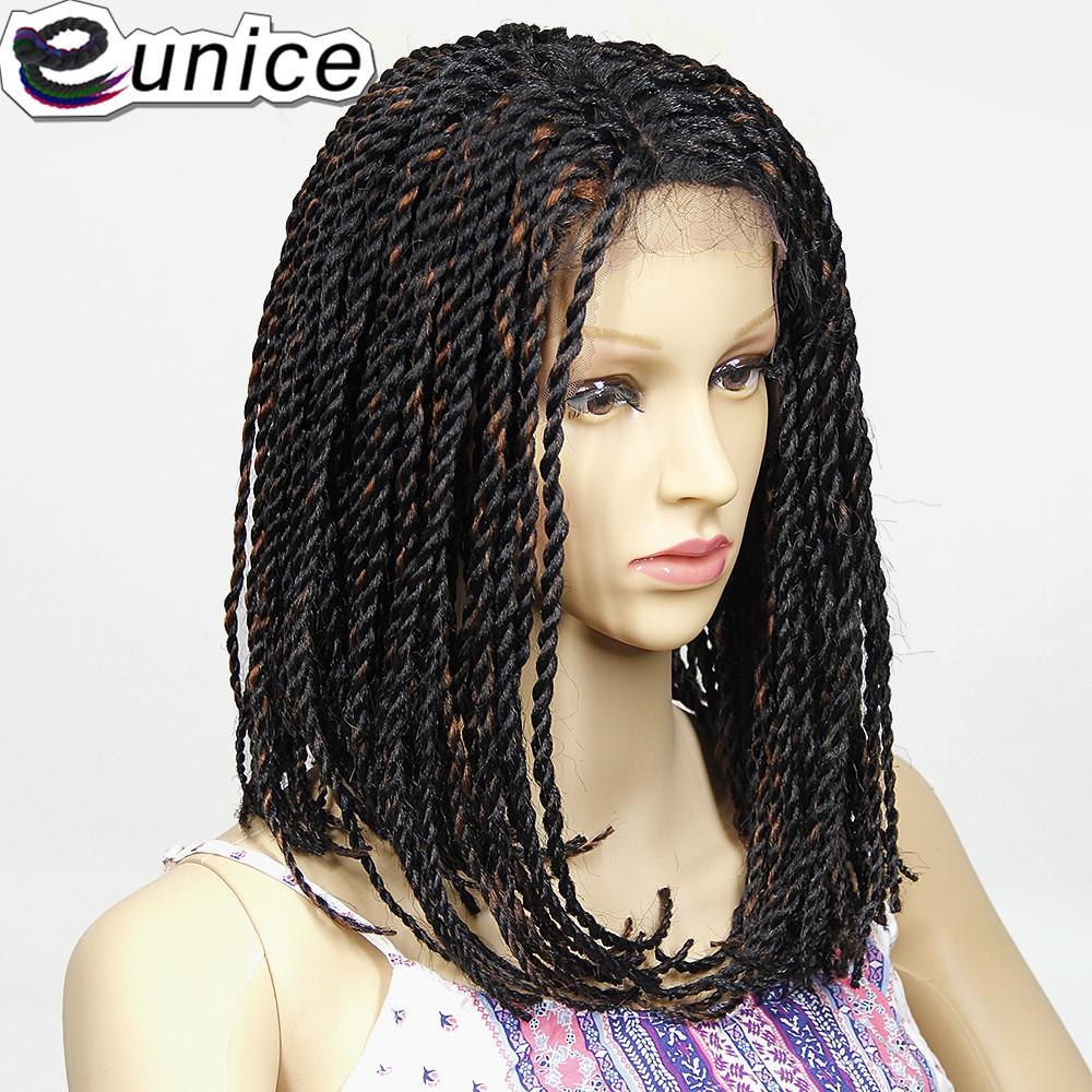 Eunice naturel noir/violet 2X torsion tresses Bob synthétique dentelle avant perruques avec bébé cheveux 16