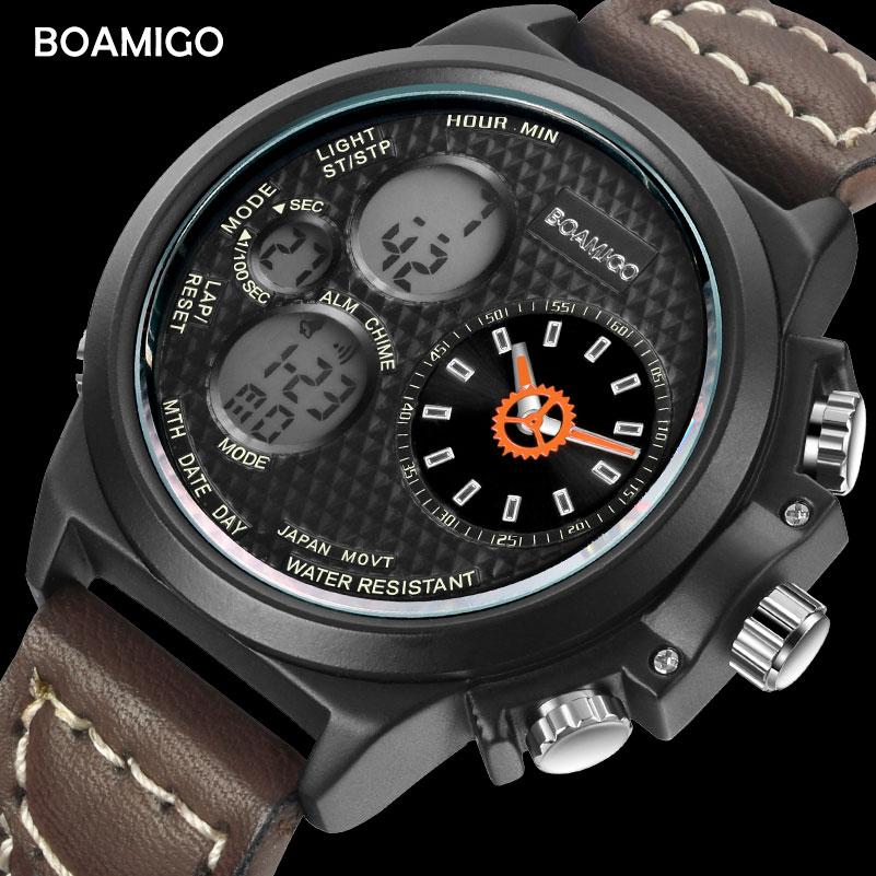 BOAMIGO brand men quartz watches fashion sport brown leather watches digital water resistant gift wristwatches relogio masculino