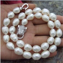 Genuine natural Fashion 11-13 mm natural white baroque pearl necklace 925 silver Round Beads wedding Women Gift word цена и фото