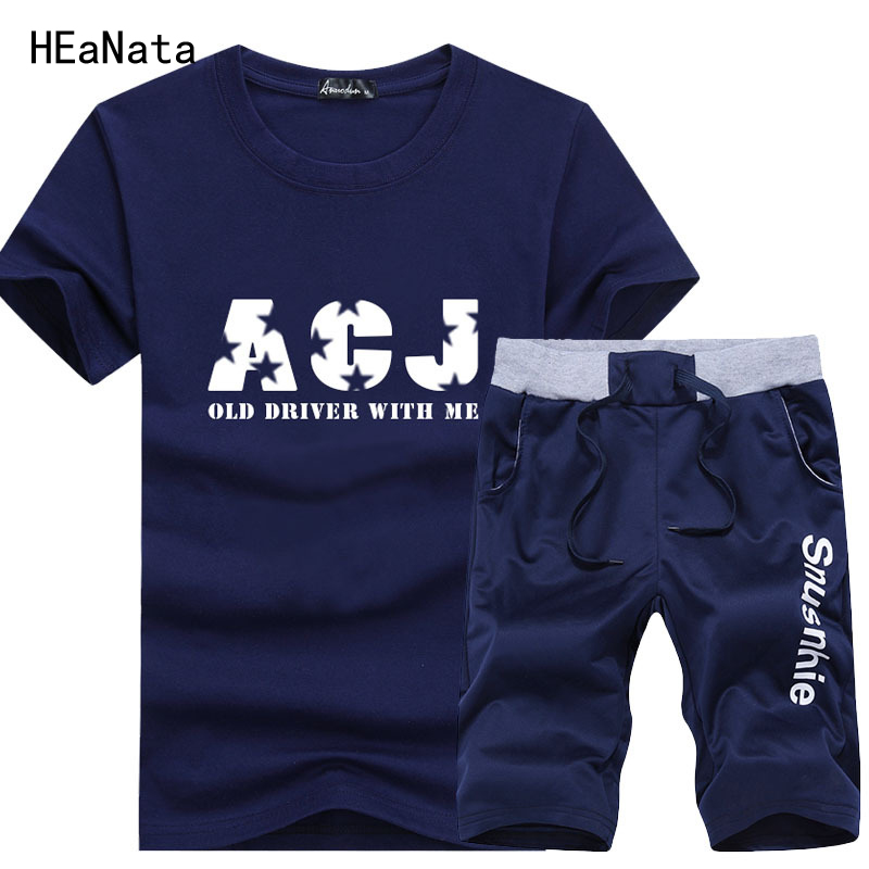 Gyms New Mens Sets Fashion Sportswear Tracksuits Men Casual Outwear Suits Sporting Slim 2PC t shirt+Short Hombre Mens Clothing