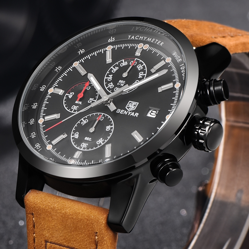 Prix pour Relogio masculino hommes de luxe marque benyar sport montre de plongée 30 m militaire montres multifonctions quartz montre-bracelet reloj hombre