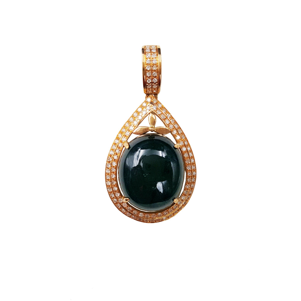 Lii Ji 18 K or Rose 13x15mm 9.3Ct ovale diamant Tourmaline bleu naturel pendentifLii Ji 18 K or Rose 13x15mm 9.3Ct ovale diamant Tourmaline bleu naturel pendentif
