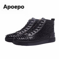 Apoepo Golden Spike Sneakers Shoes Sneakskin Leather Women Casual Shoes Studded Lace Up Luxury Designer Brand