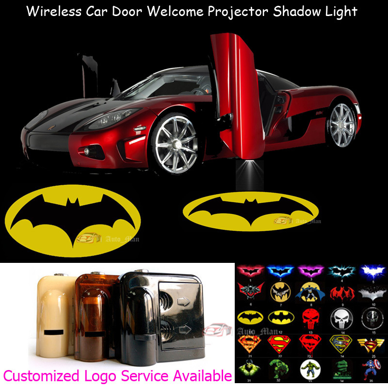 2x Wireless Sensor No Need Drilling Car Welcome Laser Projector Yellow Dark Knight Batman Logo Ghost Shadow LED Light 0124 free shipping 2x car led laser projector welcome ghost shadow light for mazda 6 new car styling auto accessory parts