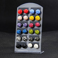 12 Pairs Set 8mm Crystal Clay Brand Stud Earrings Micro Disco Ball Earrings For Women Healthy Fashion Jewelry