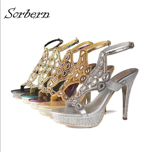 ee5955ecdff2 Sorbern 2018 New Women Sandals Bridal Shoes Sandalias Mujer Crystal Sandals  Sandalias Real Image Buckle Shoes Luxury High Heels