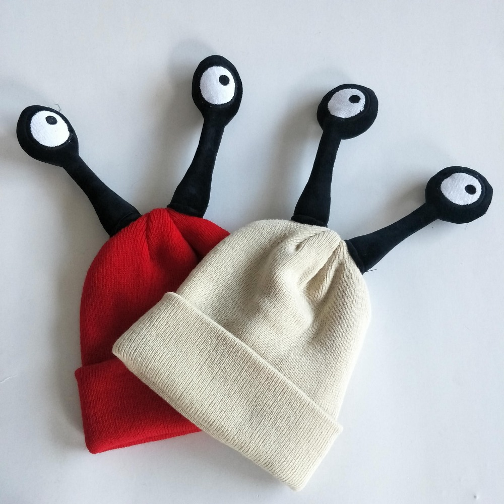 Korean version of childrens knitted hats, autumn and winter insect hair hats, cute boys and girls cartoon warm cover hats