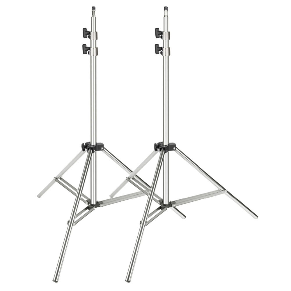 Neewer 2-pack Stainless Steel Light Stand 37-79 Inches/95-200 Centimeters Foldable Heavy Duty Support Stand For Studio Softbox