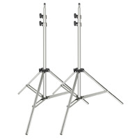Neewer 2 pack Stainless Steel Light Stand 37 79 inches/95 200 centimeters Foldable Heavy Duty Support Stand for Studio Softbox