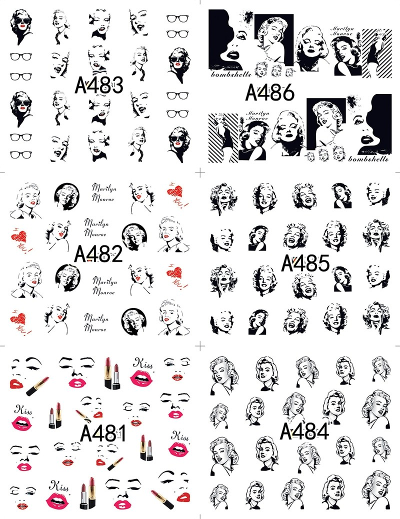 Image 2 - 12 sheets water decal nail art decorations nail sticker tattoo full Cover beauty Marilyn Monroe Decals manicure supplies A481492-in Stickers & Decals from Beauty & Health
