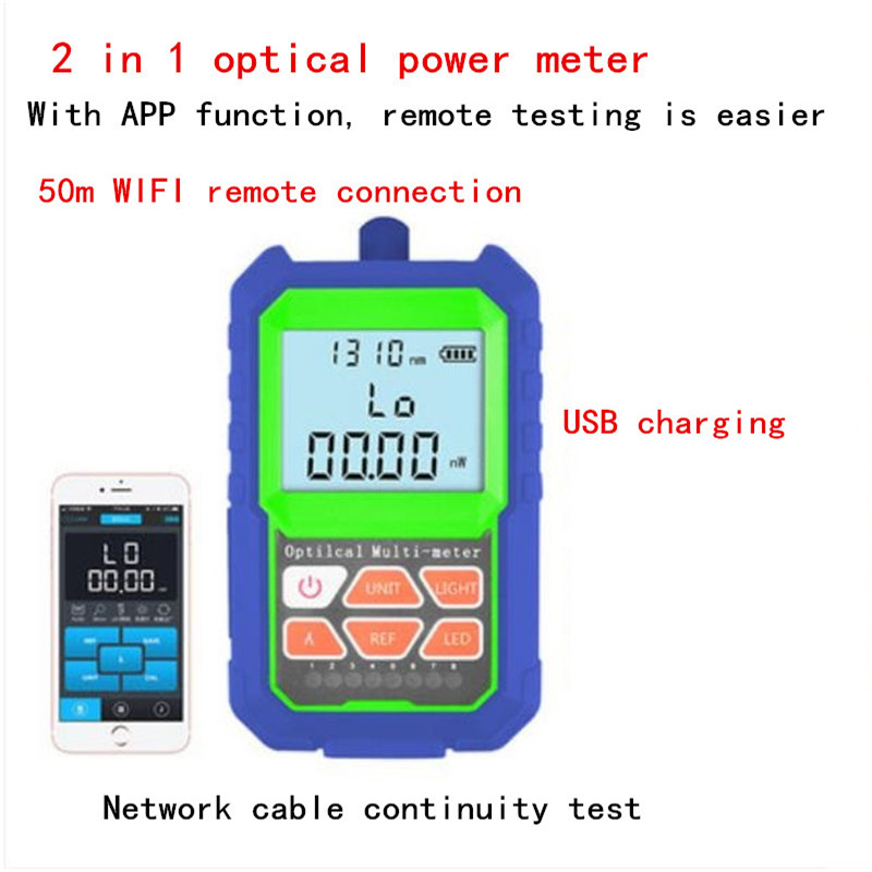 2 IN 1  Accuracy Optical Power Meter with RJ45 Fiber Tester Self-Calibration with 6 Wavelengths ,With APP, can test remotely2 IN 1  Accuracy Optical Power Meter with RJ45 Fiber Tester Self-Calibration with 6 Wavelengths ,With APP, can test remotely