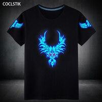 100 Cotton Mens Summer Luminous Ghost Step Dancing Short T Shirt Blue Fluorescent T Shirts Hip