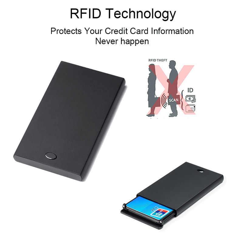 DIENQI Rfid posiadacz karty kredytowej mężczyźni kobiety Mini Auminium metalowe automatyczne Pop Up przechodzi portfel biznes posiadacza karty torba kieszonkowa przypadku
