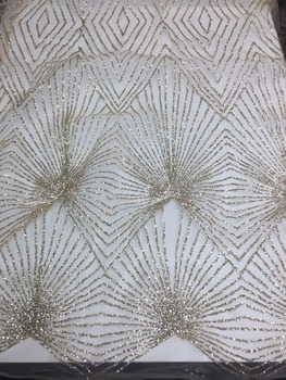 5yards /bag A01# Champagne gold  luxury good quality glued glitter flower fabric for sawing/wedding design/party dress