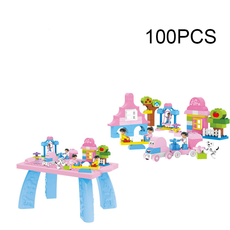 100pcs Large Size Girls Pink Dream amusement park with Desk Building Blocks Kids DIY Bricks Toys Compatable Duploe yard new large size inflatable slide and with area for kids to play bouncy castle amusement park