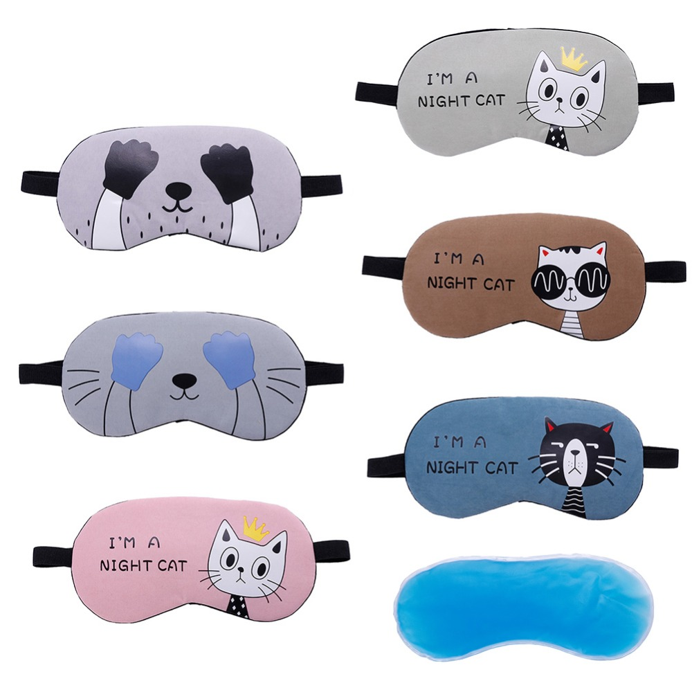 Cute Cat Cartoon Soft Eye Sleep Aid Mask with Comfortable Ice Compress Gel Travel Rest Eye Shade Cover Blindfold #280205