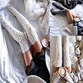 Señoras Medias de Invierno 2 Colores Calientes Sobre la Rodilla Diamante de punto Existencias Largas Mujeres 65 cm Muslo Highs Stocking Chica ZWW0401-45