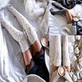 Senhoras Meias 2 Cores do Inverno Quente Sobre o Joelho Diamante malha Longo Stocks Mulheres 65 cm Coxa Highs Stocking Menina ZWW0401-45