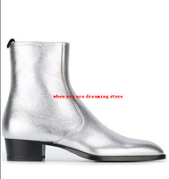 Fashion Men Silver Patent Leather Ankle Boots Blue Pointed Toe Back Ziper Men Shoes Luxury Men