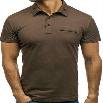 432914e33fa Product Offer. Новый бренд летние модные молнии воротник мужской рубашки  поло декоративной молнией плотная Цвет Повседневная коротким рукавом ...