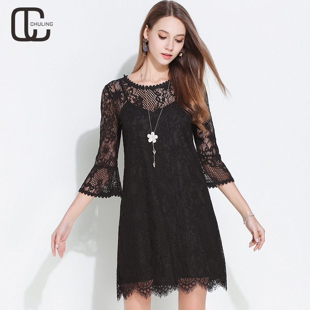 Summer Women Floral Lace Hollow Plus Size Dresses Lady Elegant