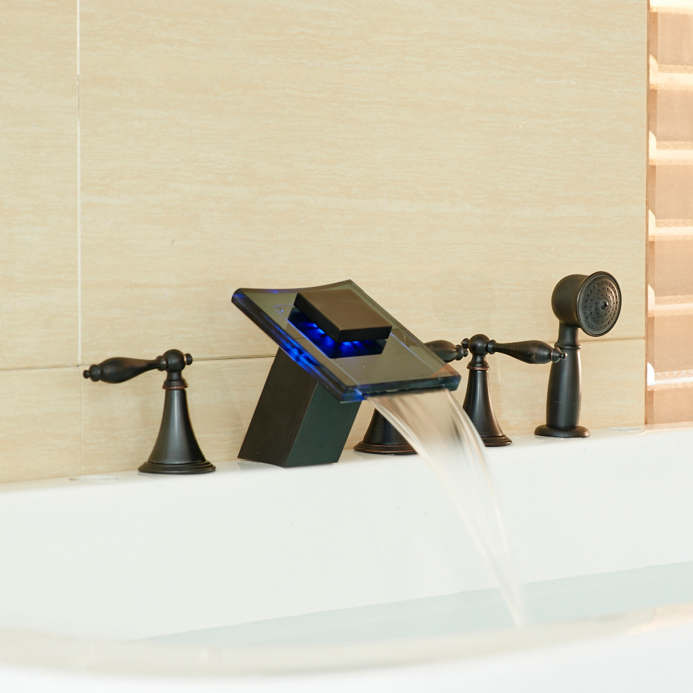Oil Rubbed LED Waterfall Spout Bathtub 5pcs Mixer Faucet with Hand Shower