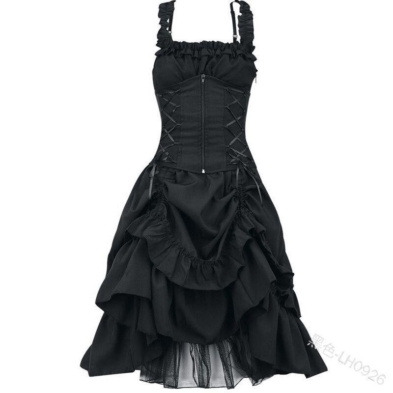 Grande taille 5XL femmes Lolita robe douce victorienne gothique Vestido rétro palais Court princesse robe sans manches longue robe Cosplay