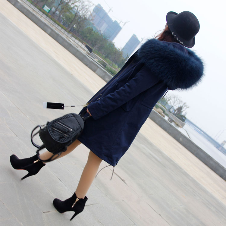 Korean Style  2017 Winter Women's Fashion Slim Navy Blue Big Real Raccoon Fur Hooded Long Thick Parkas Jackets Faux Lining Coats куртка everlast hooded bubble navy купить