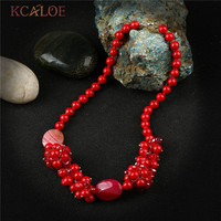 KCALOE Luxury Brand Red Chunky Necklace For Girls Valentine Gift Natural Stone Crystal Statement Necklaces For Women Jewelry