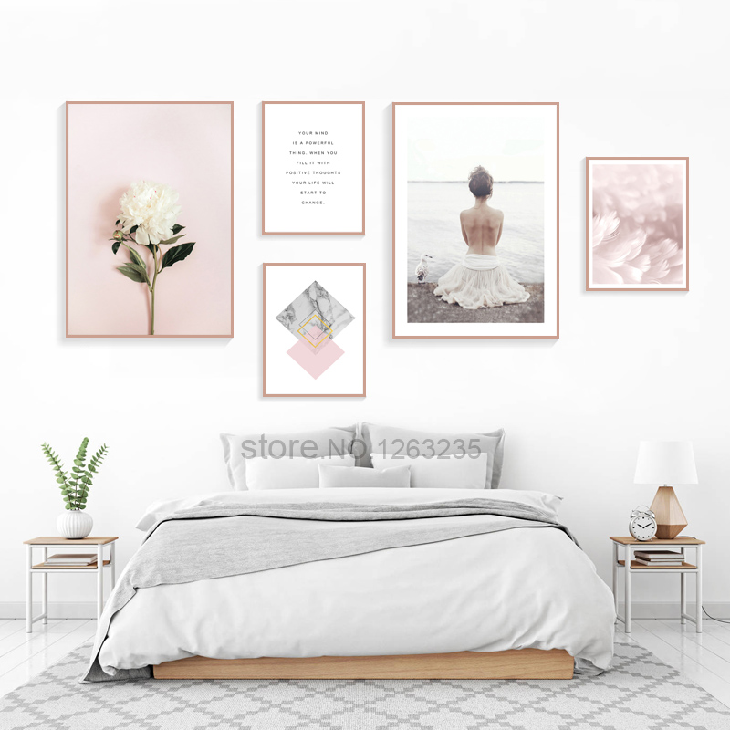Peony Flower Nordic Poster Pink Feather Wall Pictures For Living Room Peony Poster Quotes Wall Art Canvas Abstract Painting