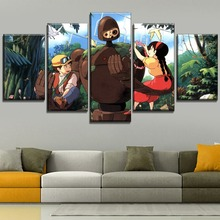 Canvas Painting Home Decorative Modular Style 5 Piece Anime Character And Robot  Movie Castle in the Sky Poster Wall Artwork
