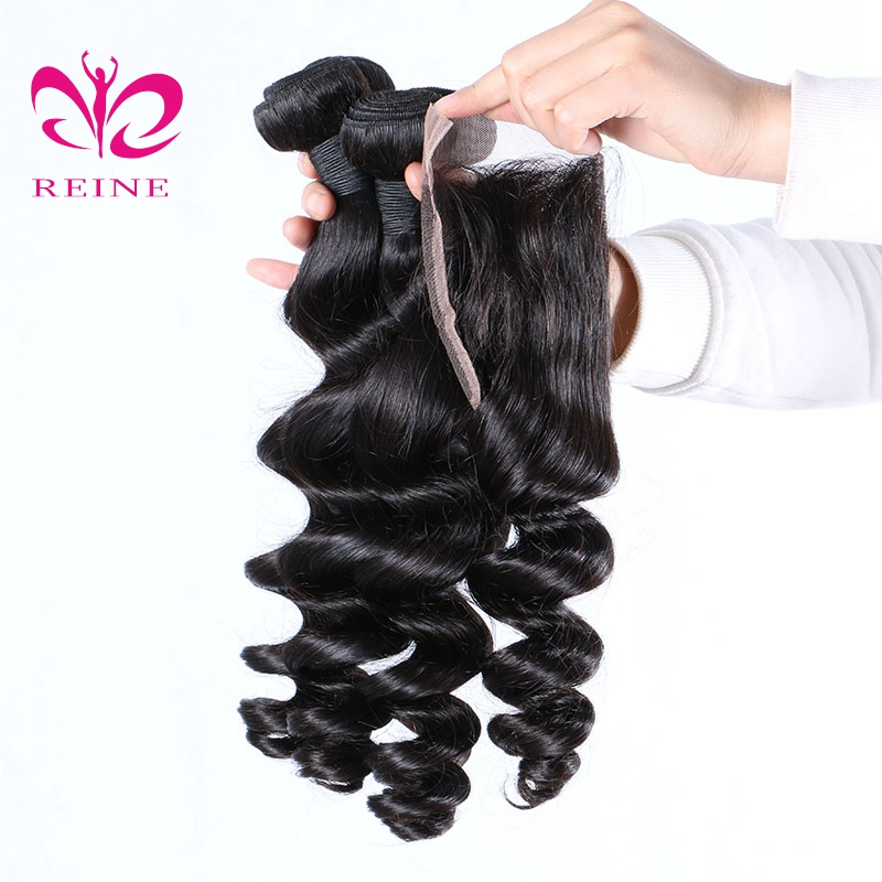 4 Bundles with Closure loose wave hair natural color Peruvian 100% Human Hair lace Closure with Bundles 5PCS/lot REINE