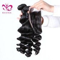 4 Pacotes com Fecho de onda solta cabelo Peruano cor natural 100% Cabelo Humano lace Encerramento com Bundles 5 Pçs/lote REINE