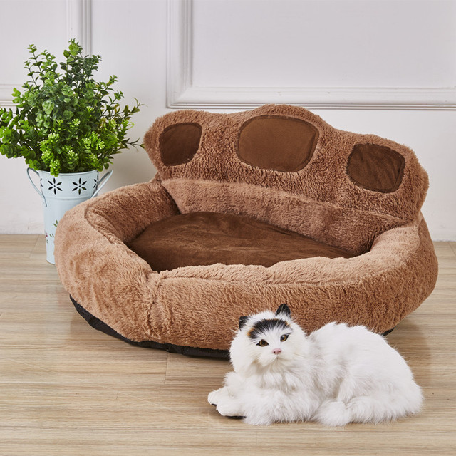 High Quality Cute Bear Paw Shaped Dog Beds Waterproof Pet Cat Bed Mat Sofa Warm Cozy