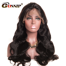 Gossip Hair Lace Front Human Hair Wigs With Baby Hair Malaysian Body Wave Pre Plucked Glueless Swiss Lace Wigs 10″-24″Non Remy