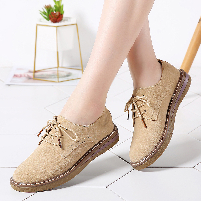 2019 Spring Oxfords Women Shoes Female   Leather     Suede   Lace Up Casual Middle Heel Flats Tenis Feminino Loafers Shoes for Women C71