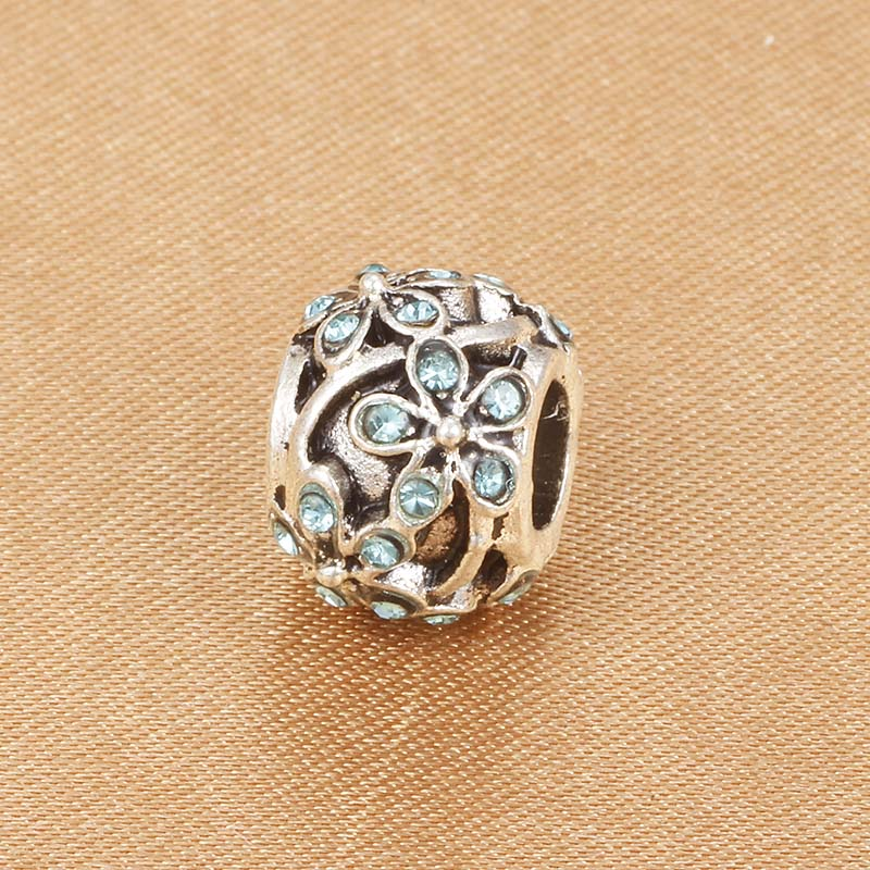 Beads Spinner Flower Crystal Charm Beads Pave Aaa Zircon Charms Fit Pandora Charm Bracelets For Women Diy Jewelry Gift Beads & Jewelry Making