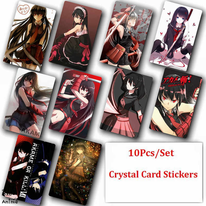 10Pcs/Set Akame ga Kill Anime Crystal Card Stickers Fashion Poster Cards