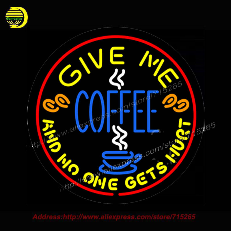 Round Give Me Coffee Neon Sign Real Glass Tube vintage Sign Handcrafted neon sign for Business Store Neon bud <font><b>light</b></font> 24x24