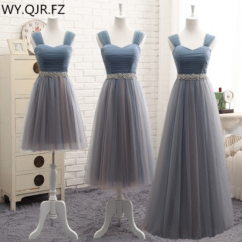 YYMY01S#Shoulders Lace Up Resin Drill Ornament Short Middle Length Three Styles Bridesmaid Dresses Wedding Party Prom Dress 2019