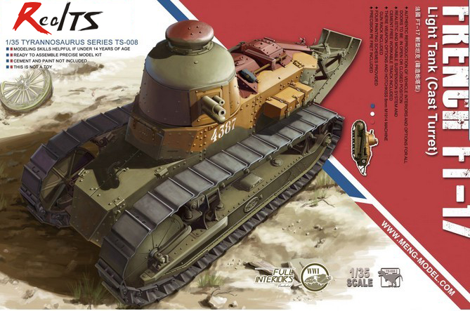 Meng Model TS-008 1/35 FRENCH Renault FT-17 Light Tank Cast Turret Plastic Model Kit